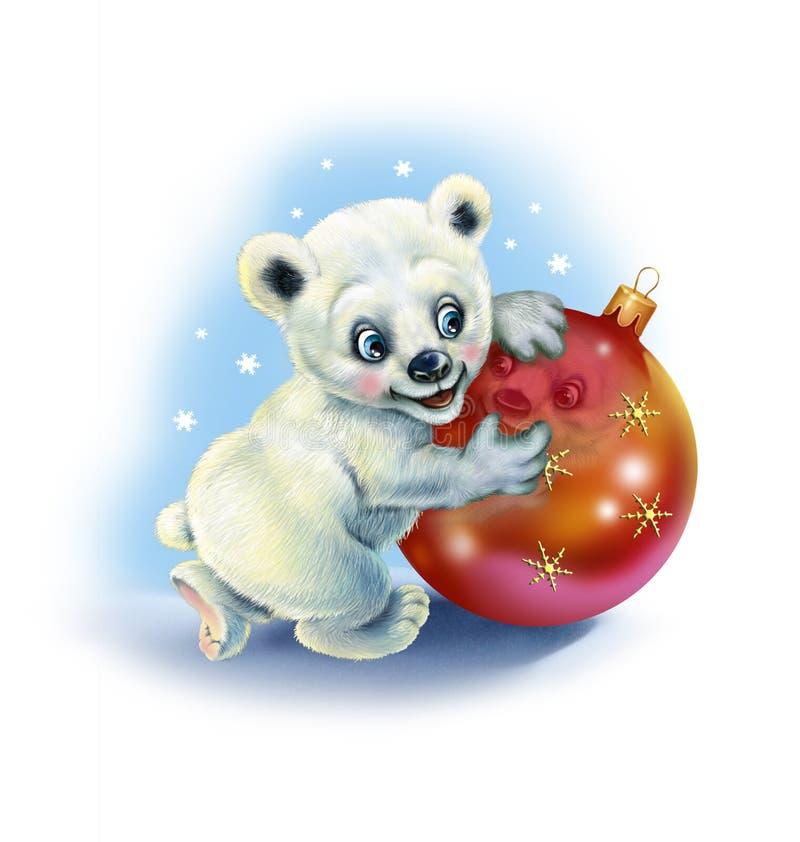 Медвежонок держит игрушку рождества иллюстрация вектора