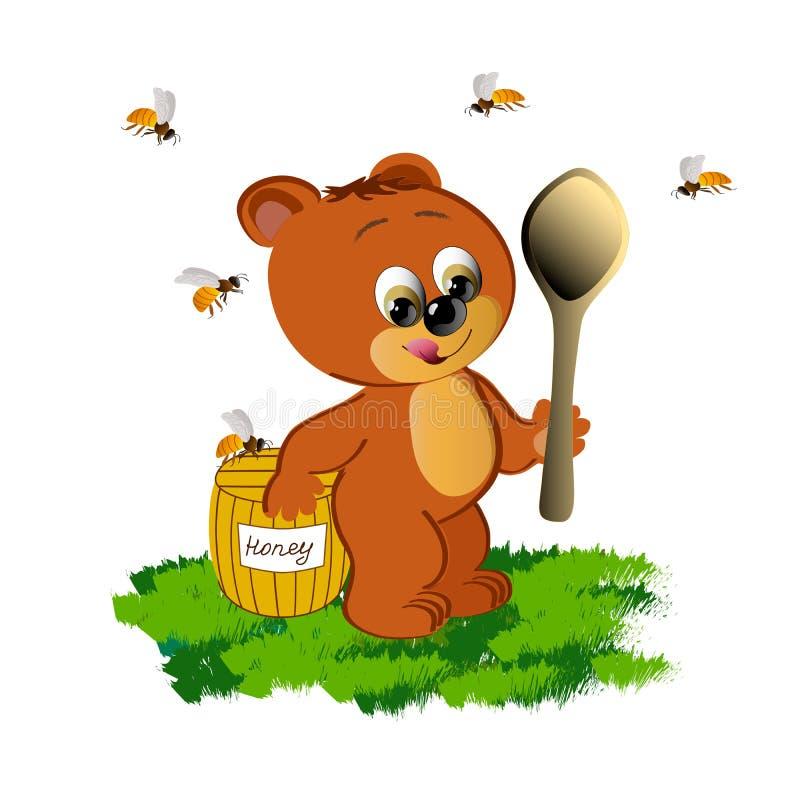Медвежонок с медом на белой предпосылке иллюстрация вектора