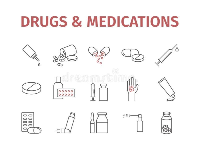 Медицина дает наркотики пилюлькам Линия установленные значки медицинских поставок подпишите вектор иллюстрация вектора