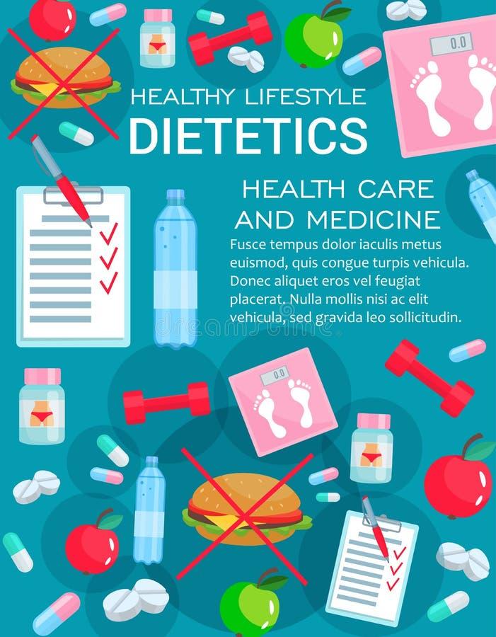 Медицина диететики с деталями питания диеты иллюстрация штока