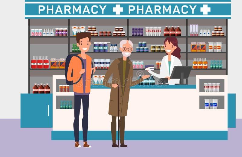 Медицина людей покупая на аптеке Медицинская тема иллюстрация штока
