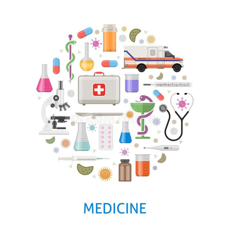 Медицина плоско вокруг дизайна бесплатная иллюстрация
