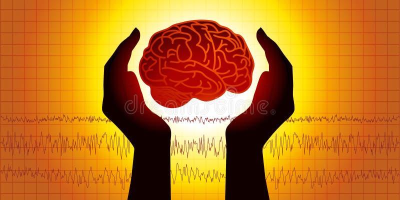 Медицинская диаграмма показывая 2 руки которая защищает мозг перед диаграммой показывая мозговую деятельность иллюстрация штока