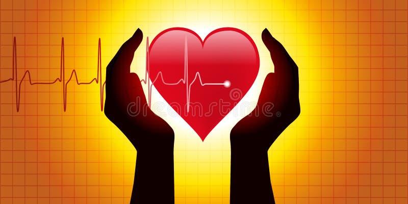 Медицинская диаграмма, представляя 2 руки которая защищает сердце перед диаграммой показывая кровяное давление иллюстрация вектора