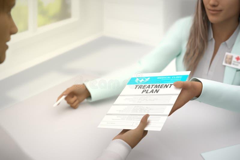 Медицинская иллюстрация - красивый врач дамы дает терпеливый план обработки для того чтобы подписать внутри яркий шкаф докторов,  стоковые фото