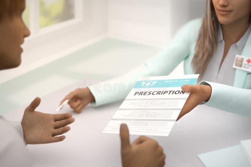 Медицинская иллюстрация с выборочным фокусом - красивый женский врач дает терпеливый медицинский рецепт в ее комнате и иллюстрация вектора