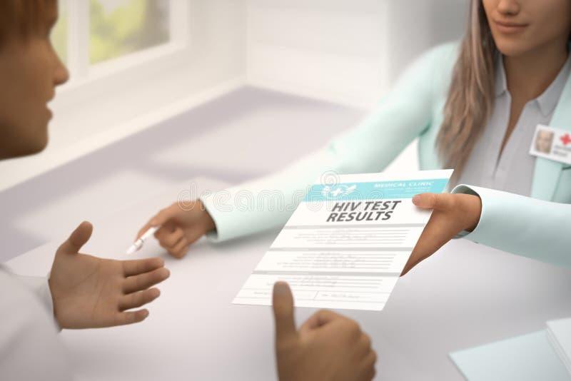 Медицинская иллюстрация с выборочным фокусом - фантастический врач дамы дает терпеливые результаты теста ВИЧ в ее офисе и пациент бесплатная иллюстрация