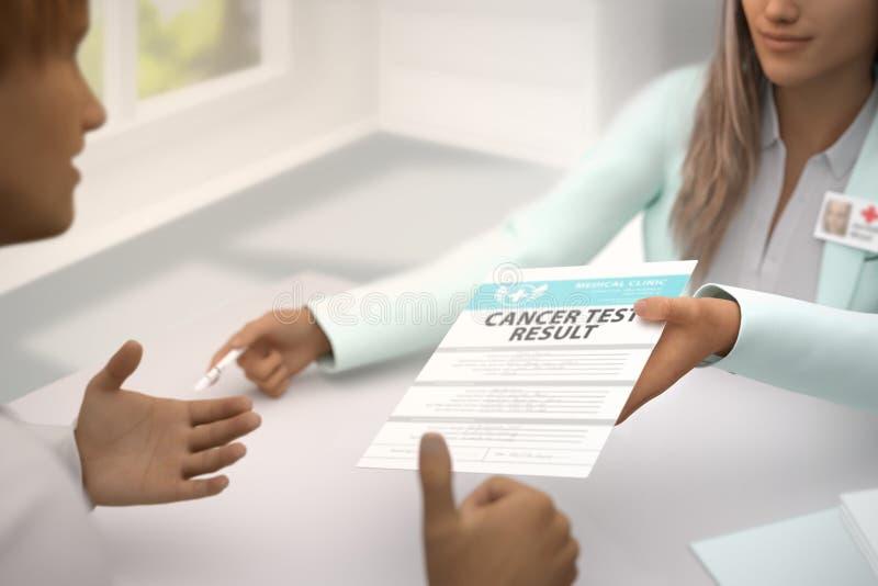 Медицинская иллюстрация с выборочным фокусом - чудесный врач дамы дает терпеливые результаты теста Карциномы в ее офисе и иллюстрация штока