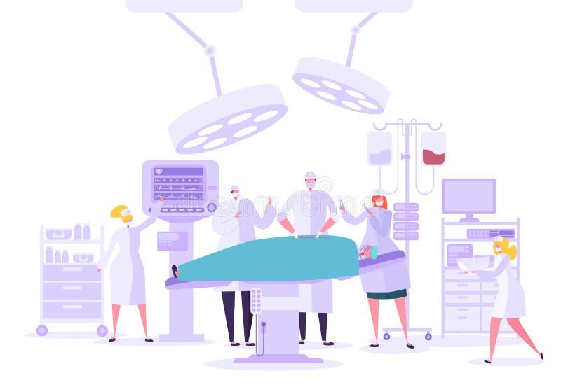 Медицинская операционная деятельности хирургии больницы Характеры доктора и медсестры выполняя хирургическую операцию на пациенте бесплатная иллюстрация