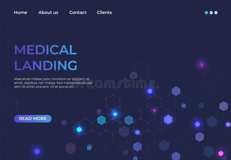 Медицинская приземляясь концепция Обслуживание медицины и вебсайт машины скорой помощи аварийный абстрактный Сеть нововведения ил бесплатная иллюстрация