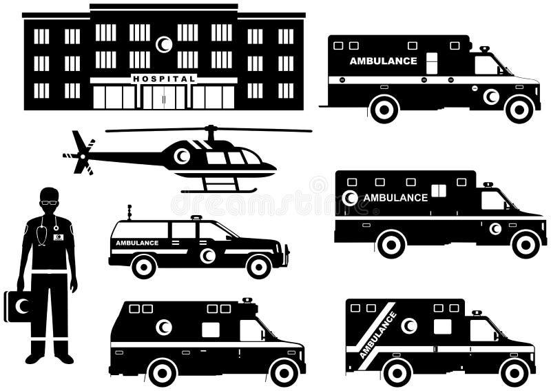МЕДИЦИНСКАЯ принципиальная схема Комплект автомобилей машины скорой помощи различных силуэтов мусульманских аравийских, больница, бесплатная иллюстрация