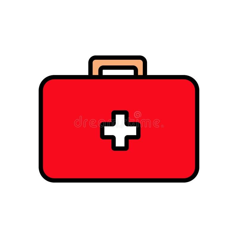 Медицинская прямоугольная бортовая аптечка с медицинами, портфель для скорой помощи, простого значка на белой предпосылке r иллюстрация штока