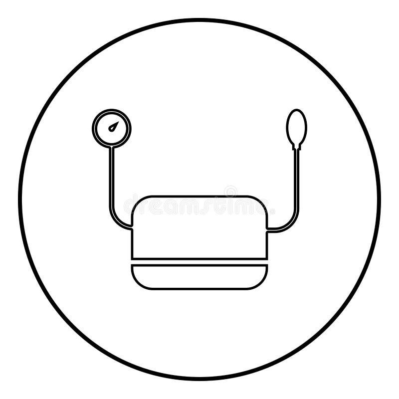 Медицинская служба измеряя прибора давления для измерять цвет значка медицинского инструмента Tonometer ИМПа ульс кровяного давле иллюстрация штока