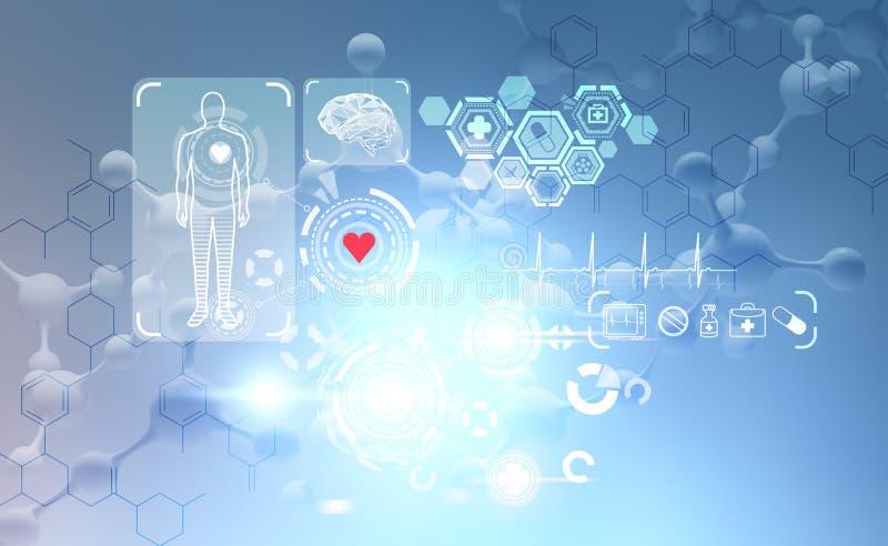 Медицинские значки интерфейс, атомы и hud иллюстрация штока