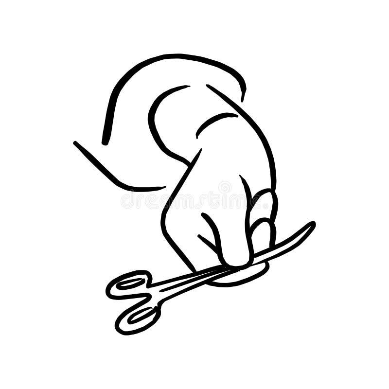 Медицинские ножницы в руке доктора vector эскиз ha иллюстрации иллюстрация вектора