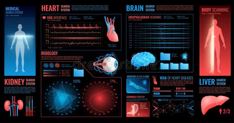 Медицинские темные элементы интерфейса иллюстрация штока