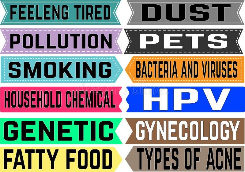 Медицинские термины маркетинга иллюстрации коллажа предпосылки ассоциации различные vector белое слово Иллюстрация с различными у иллюстрация вектора