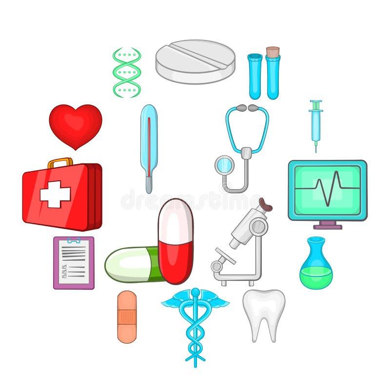 Медицинские установленные значки, стиль шаржа иллюстрация штока