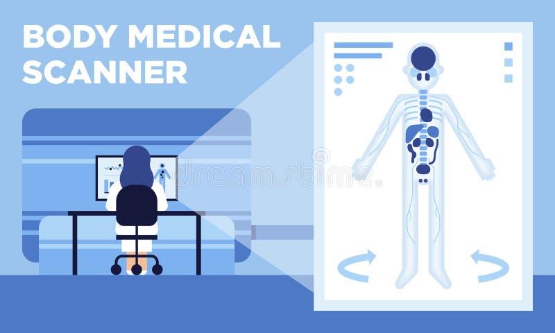 Медицинский блок развертки который делает изображения 3D человеческого тела иллюстрация штока