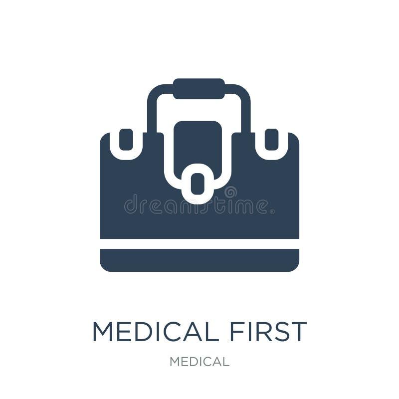 медицинский значок бортовой аптечки в ультрамодном стиле дизайна медицинский значок бортовой аптечки изолированный на белой предп иллюстрация вектора