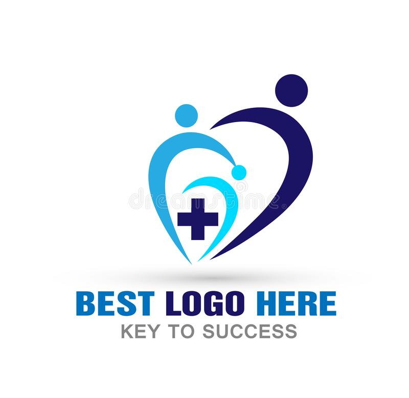 Медицинский значок логотипа сердца людей креста здравоохранения на белой предпосылке иллюстрация вектора