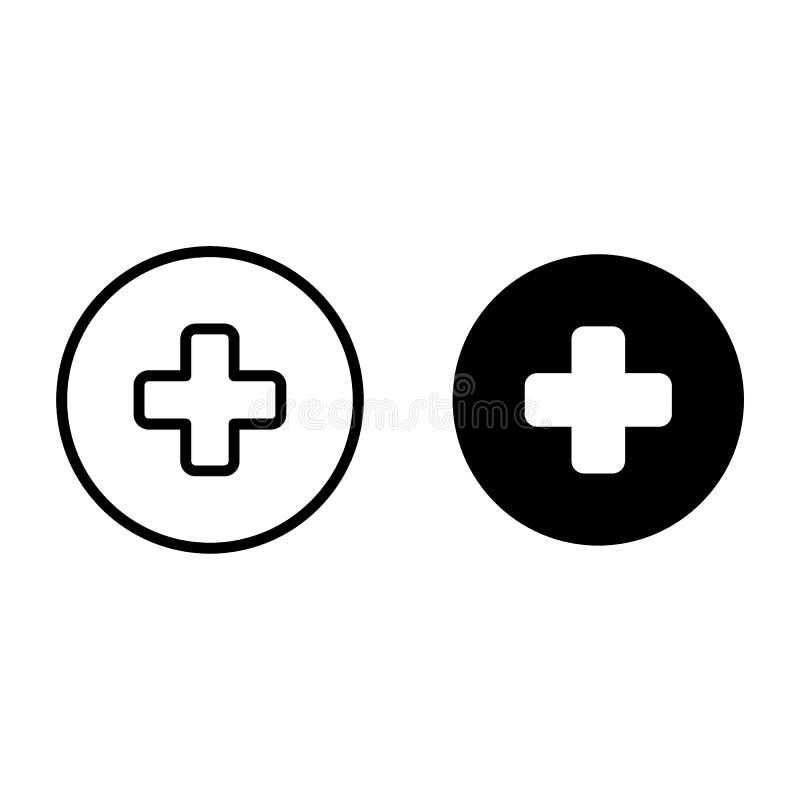Медицинский крест в линии круга и значке глифа Аварийная перекрестная иллюстрация вектора изолированная на белизне Плюс стиль пла иллюстрация штока
