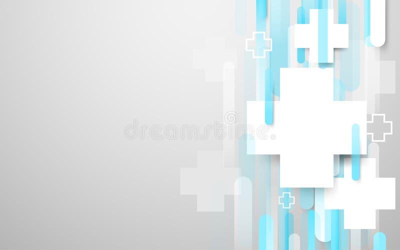 Медицинский перекрестный знак и абстрактная белая и голубая предпосылка прямоугольников бесплатная иллюстрация