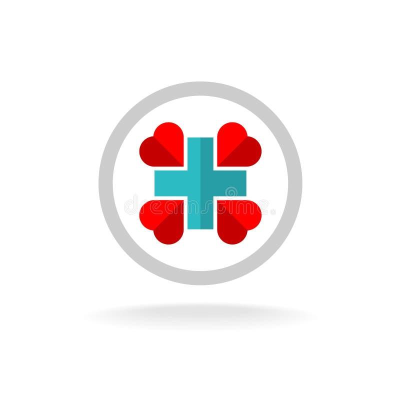 Медицинский перекрестный логотип иллюстрация вектора