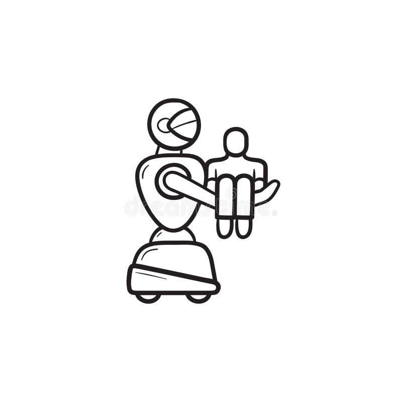 Медицинский робот нося значок doodle плана терпеливой руки вычерченный бесплатная иллюстрация