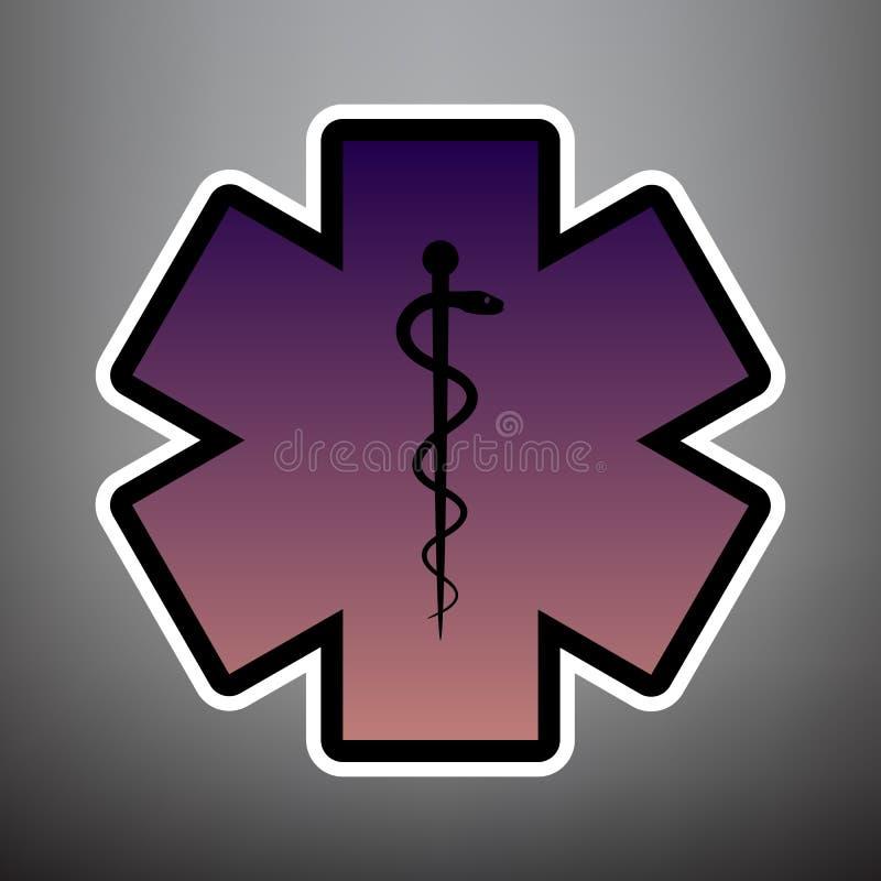 Медицинский символ аварийной ситуации или звезды жизни вектор лилово иллюстрация штока