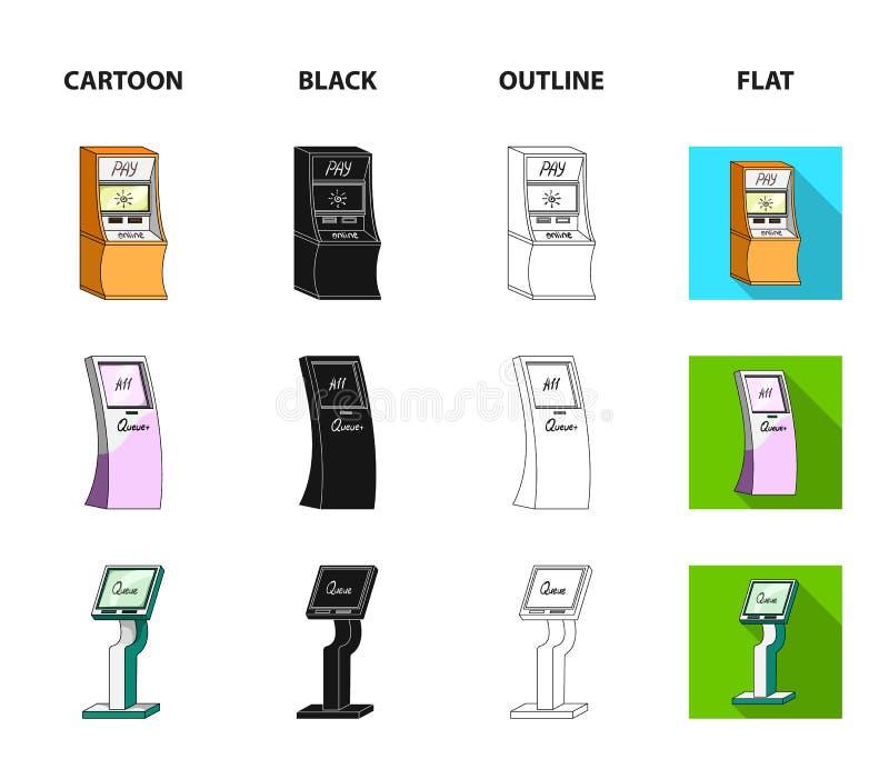 Медицинский стержень, ATM для оплаты, прибор для очереди Значки собрания комплекта стержней в шарже, черноте, плане, плоском бесплатная иллюстрация