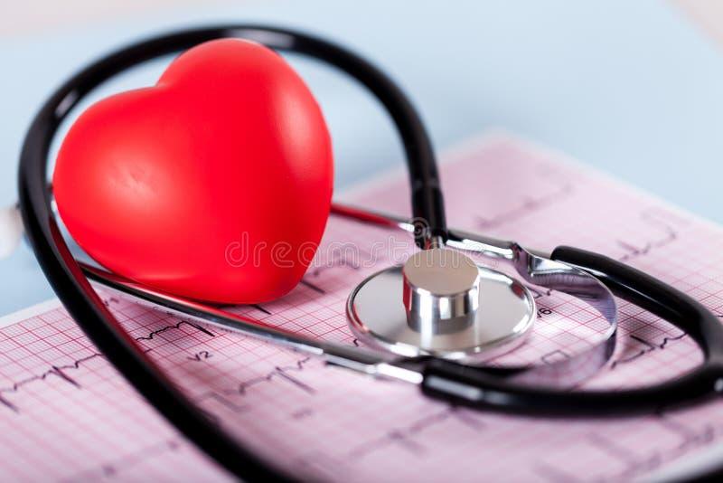 Медицинский стетоскоп с сердцем, взглядом конца-вверх стоковые изображения