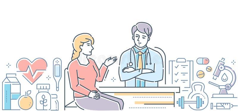 Медицинский центр - современная линия знамя стиля дизайна иллюстрация штока