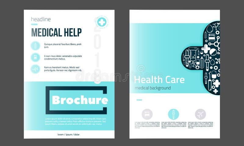 Медицинский шаблон крышки брошюры в голубом цвете Рогулька с встроенными значками медицины, современная чистая концепция Infograp иллюстрация вектора