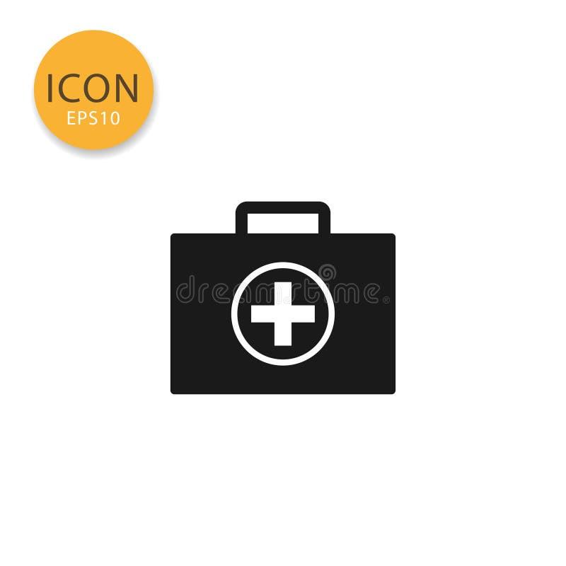 Медицинским стиль сумки изолированный значком плоский иллюстрация вектора