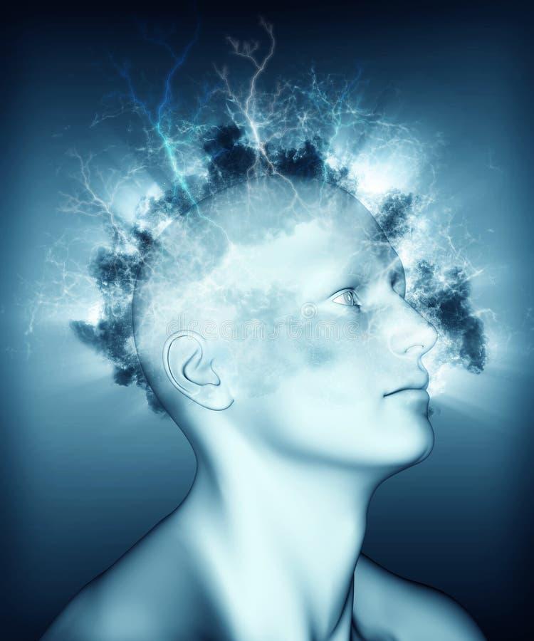 медицинское изображение 3D показывая проблемы психических здоровий иллюстрация штока