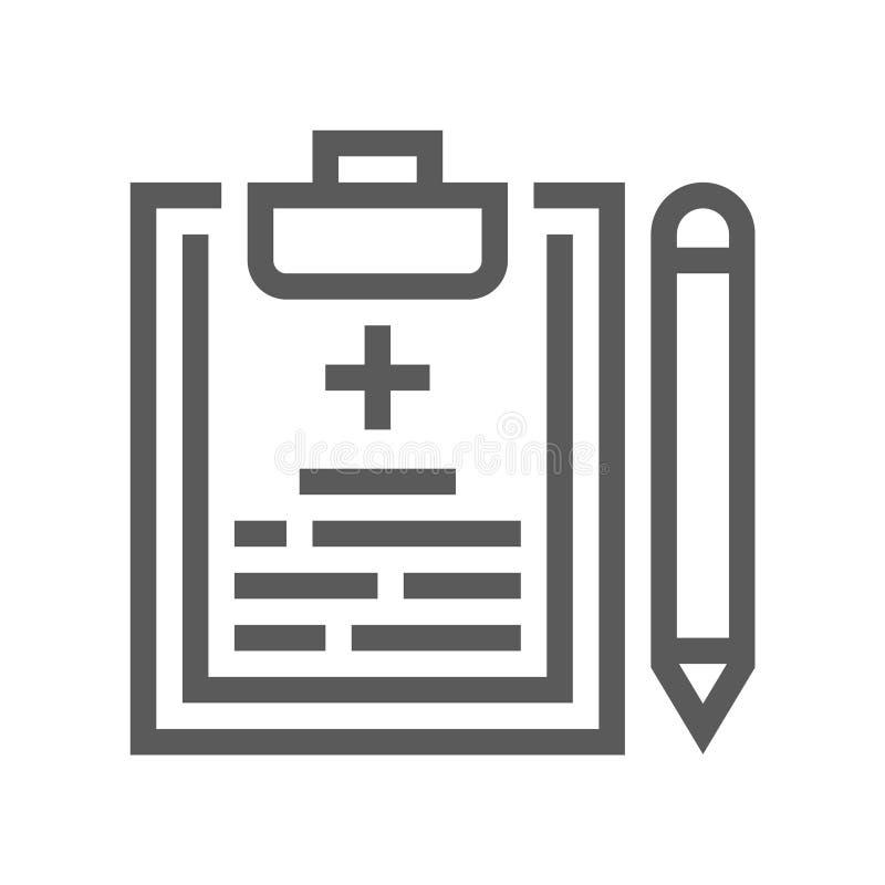 Медицинское обслуживание, диагностическое оборудование, линия значок вектора профессионалов здравоохранения плоская бесплатная иллюстрация