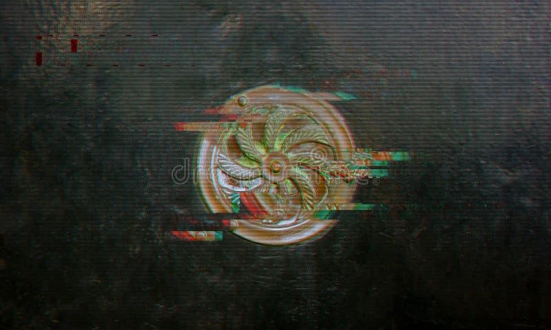 Медная круглая плита на зеленой металлической двери, влияние небольшого затруднения иллюстрация вектора