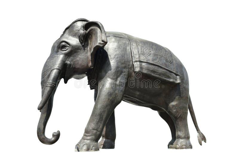 Медное положение и флаг статуй слона Штукатурка слона Новый мост для пользы в стоковое фото rf