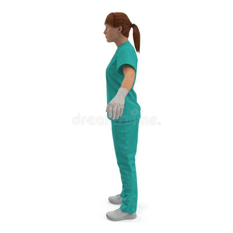 Медсестра или хирург Femal нося стерильный зеленый костюм на белизне иллюстрация 3d иллюстрация штока