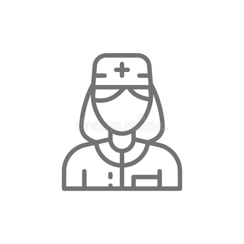 Медсестра, работник женщины медицинский, линия значок доктора иллюстрация вектора