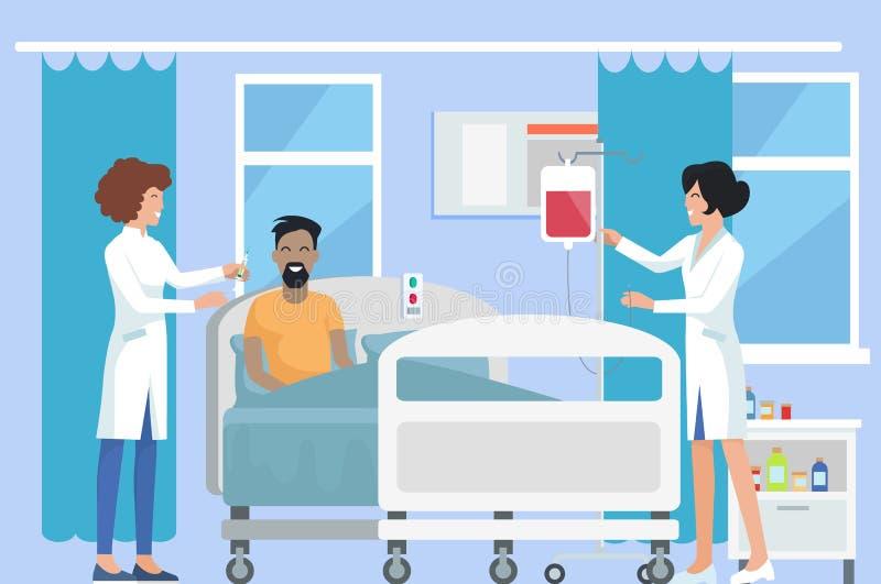 Медсестры заботя для пациента на иллюстрации вектора иллюстрация вектора