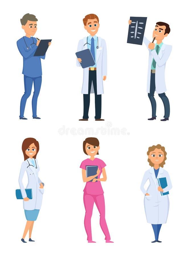 Медсестры и доктора сотрудник военно-медицинской службы Характеры здравоохранения в различных представлениях иллюстрация штока