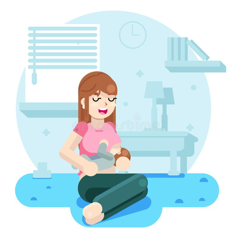 Медсестры счастливой молодой матери подавая младенец плоская иллюстрация вектора дизайна бесплатная иллюстрация