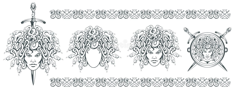 Медуза Gorgon - изверг с женской стороной и змейки вместо волос шпага Голова Медузы греческая мифология Традиционное нарисованное иллюстрация вектора