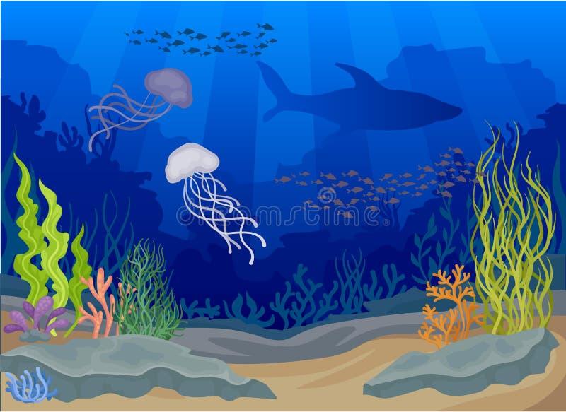 Медузы под водой Концепция Seascapes также вектор иллюстрации притяжки corel иллюстрация вектора