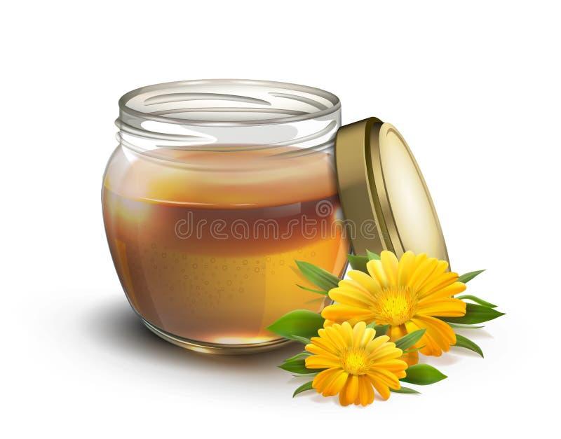 Мед в опарнике и цветках на белизне иллюстрация вектора