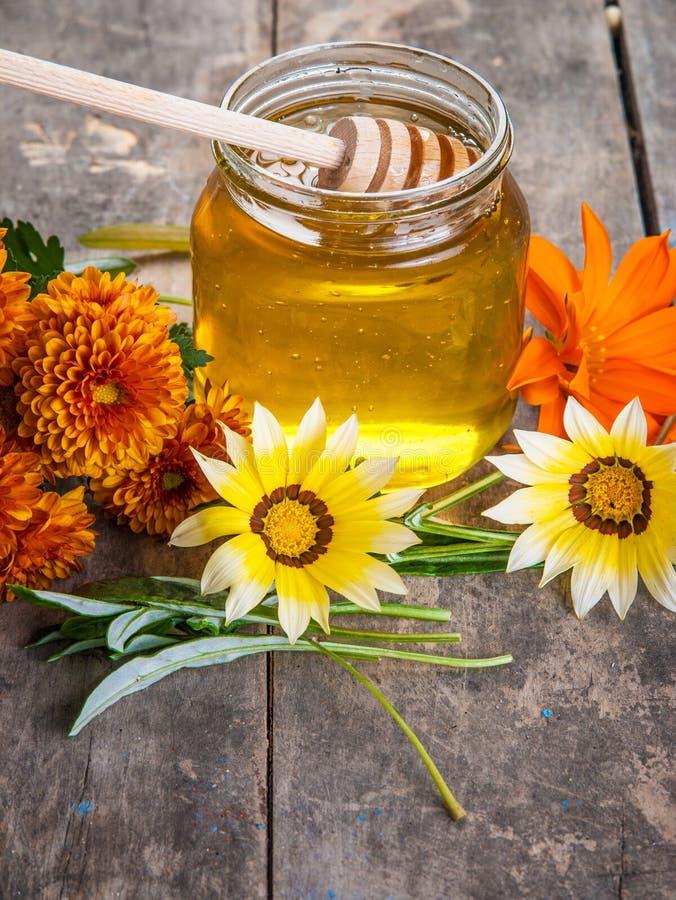 Мед и цветки стоковые фотографии rf