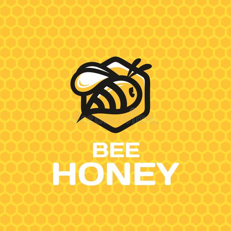 Мед пчелы логотипа знака современного вектора профессиональный иллюстрация штока