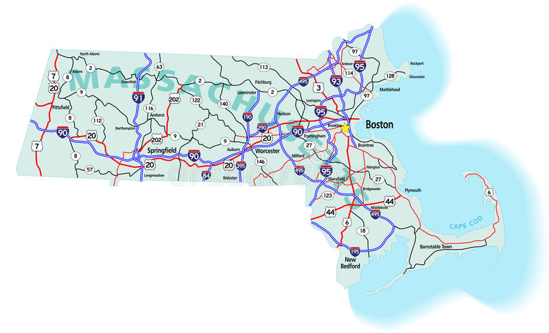 межгосударственное положение massachusetts карты иллюстрация вектора